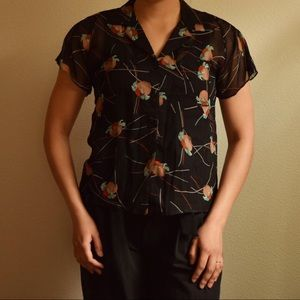 vintage tropical pure silk collared blouse size sm